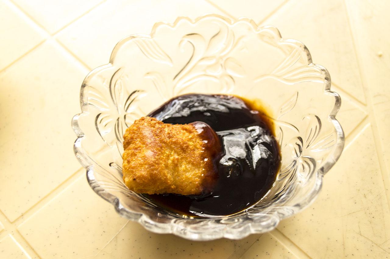 CNNph Chicken Breast Nuggets on BBQ sauce